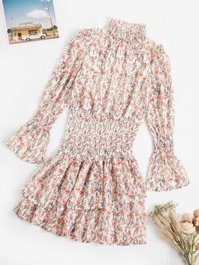 Floral Smocked Layered Hem Poet Sleeve Dress - White M