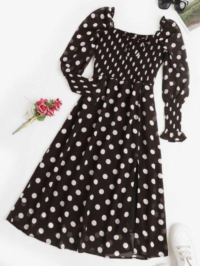 Puff Sleeve Polka Dot Smocked Milkmaid Dress - Black S