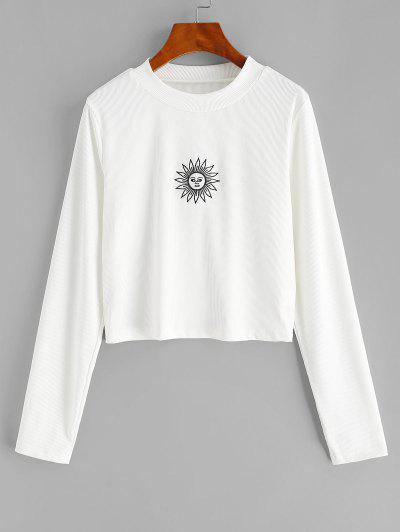 ZAFUL Plus Size Rib-knit Sun Embroidered Long Sleeve Top - White 4xl