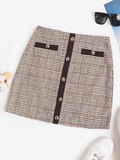 Plaid Tweed Metallic Button Mini Skirt - Light Coffee M
