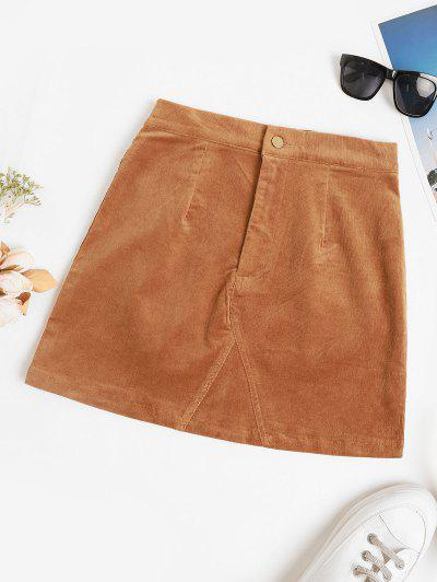 High Waisted Corduroy Solid Mini Skirt - Coffee L