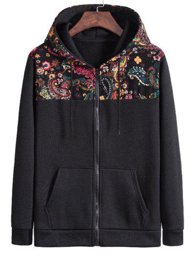 Hooded Paisley Print Fleece Jacket - Black S
