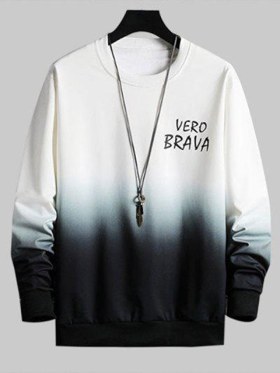 Letter Print Ombre Sweatshirt - White Xl