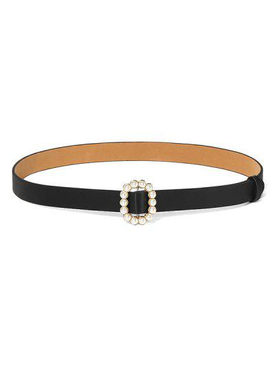 Faux Pearl Oval Buckle Belt - Black