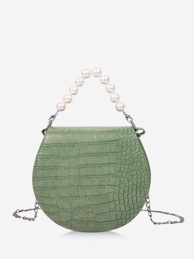 Faux Pearl Handle Chain Handbag - Dark Turquoise