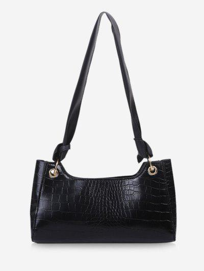 Textured Knotted Shoulder Bag - Black