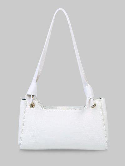 Textured Knotted Shoulder Bag - Natural White