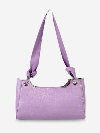 Textured Knotted Shoulder Bag - Heliotrope Purple