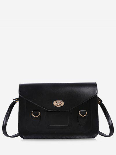 Retro Cover Shoulder Bag - Black