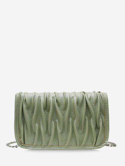 Pleated Chain Crossbody Bag - Sea Green