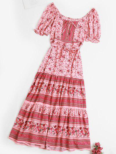 Tie Waist Button Loop Bohemian Floral Dress - Light Pink L