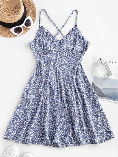 Ditsy Floral Criss Cross Frilled Cami Dress - Blue M