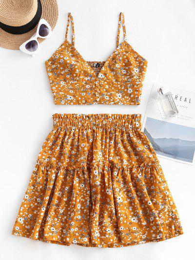 Floral Smocked Back Frilled Two Piece Skirt Set - Deep Yellow L