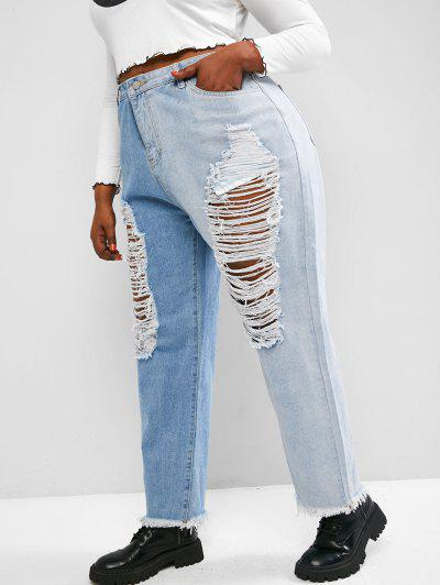 Plus Size Ladder Distressed Contrast Tapered Jeans - Light Blue 1xl