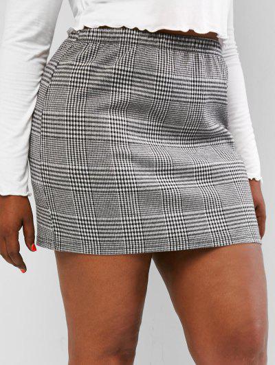 ZAFUL Plus Size Houndstooth Slinky Mini Skirt - Multi L