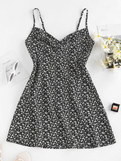 ZAFUL Ditsy Floral Draped Cutout Cami Dress - Black M