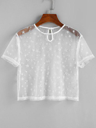 ZAFUL Metallic Star Mesh See Thru T Shirt - White M