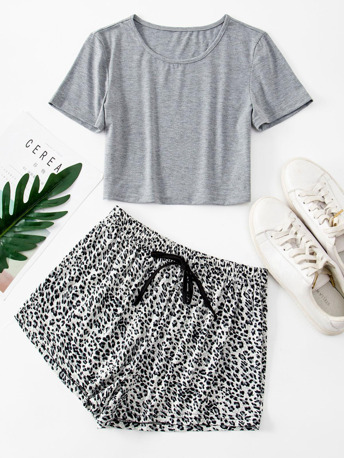 Eyelet Contrast Tee With Shorts Two Piece Set