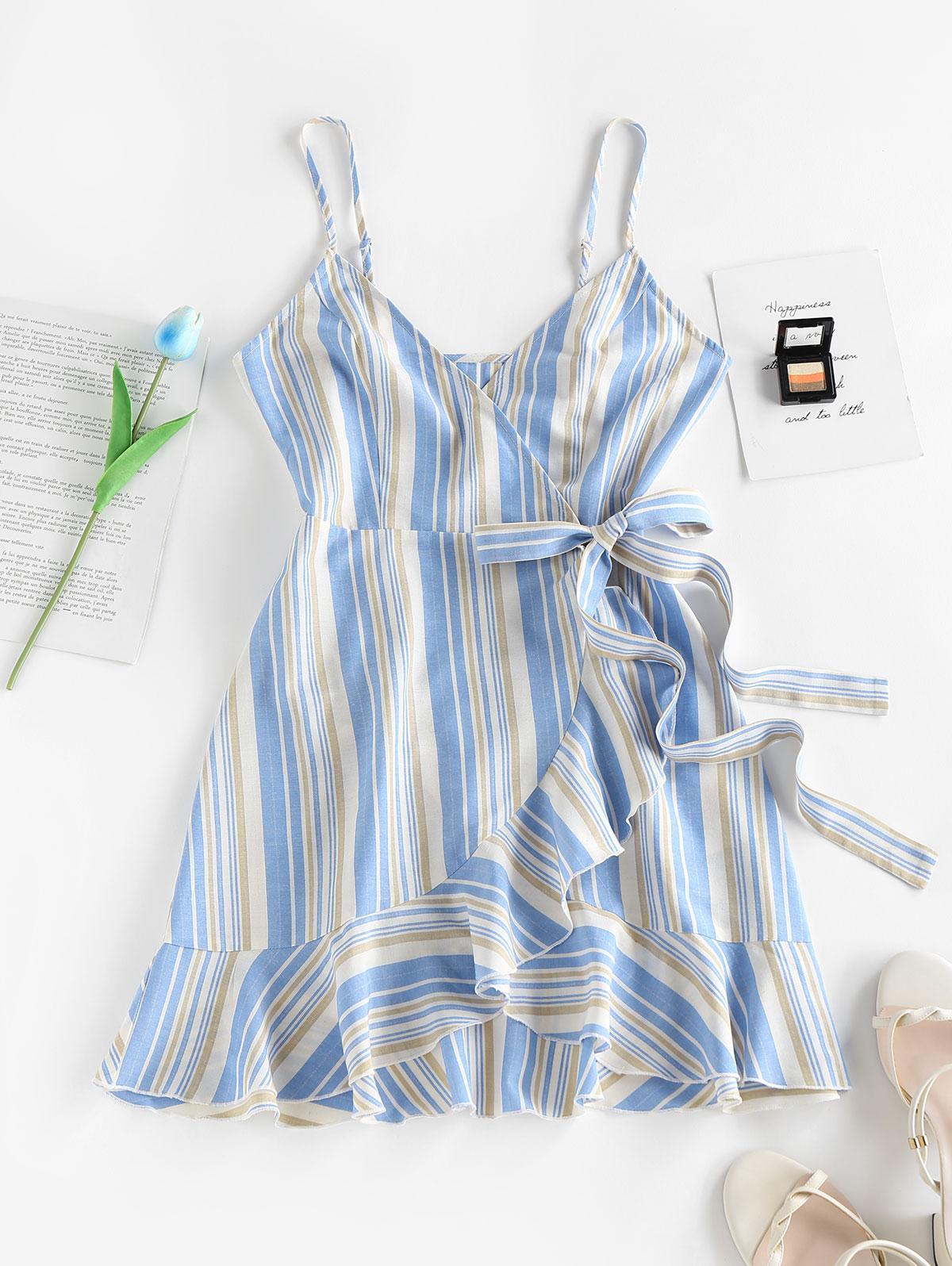 ZAFUL Striped Ruffle Bowknot Wrap Dress