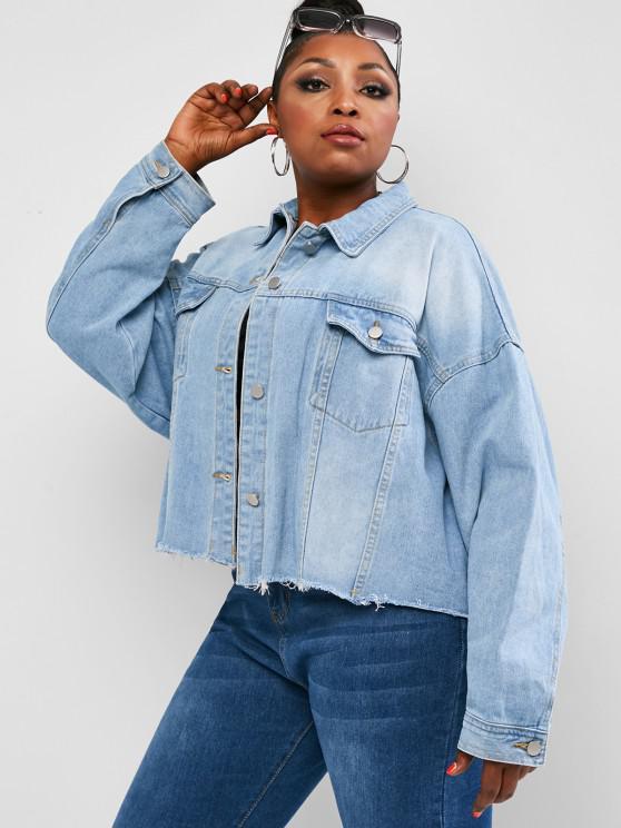 womens Plus Size Drop Shoulder Frayed Pocket Denim Jacket - LIGHT BLUE L