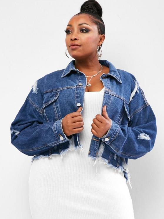 women's Frayed Distressed Cropped Plus Size Denim Jacket - DEEP BLUE 1XL