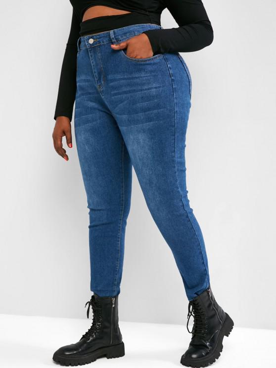 Plus Size Raw Hem Tapered Jeans - أزرق L