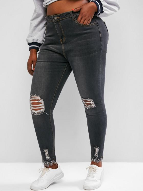 lady Plus Size Raw Hem Distressed Skinny Jeans - GRAY 3XL