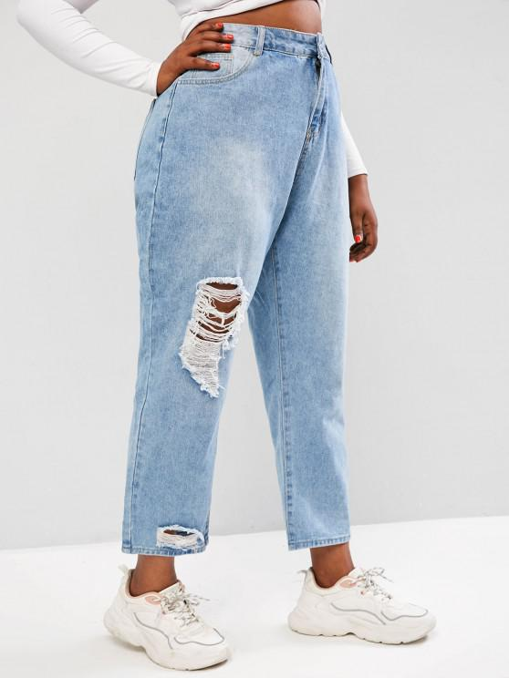 Plus Size Distressed High Waisted Jeans - أزرق فاتح 3XL