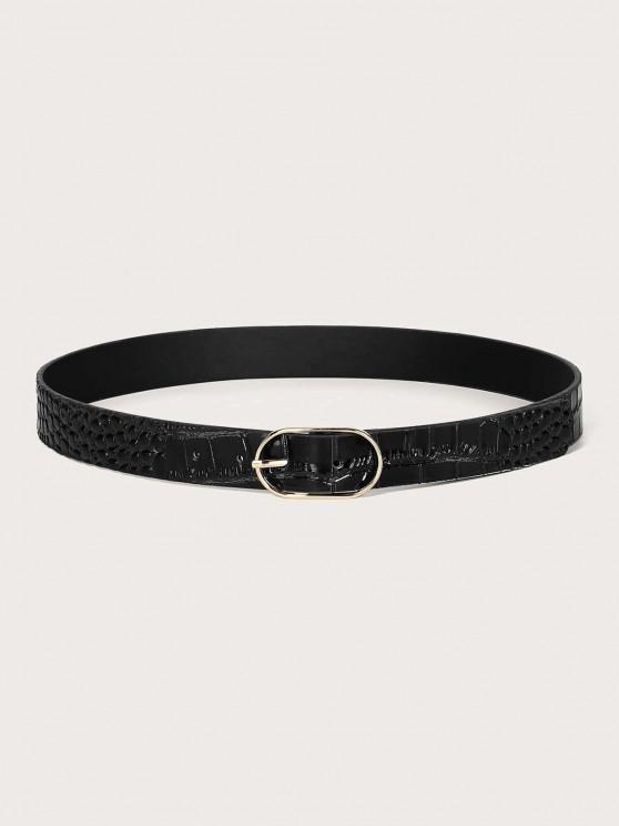 Cinturón de Hebilla Casual Cuero Textura Ovalada - Negro
