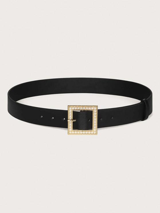 Künstliche Perlen Quadrat Schnalle Gürtel - Schwarz