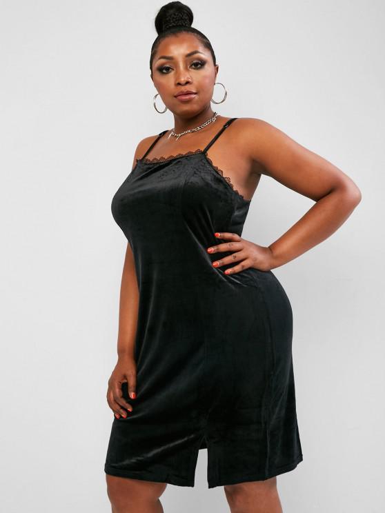 online ZAFUL Plus Size Velvet Split Hem Lace Trim Cami Dress - BLACK 5XL