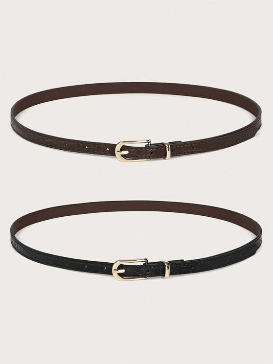 women 2Pcs Skinny Pin Buckle Belt Set - MULTI