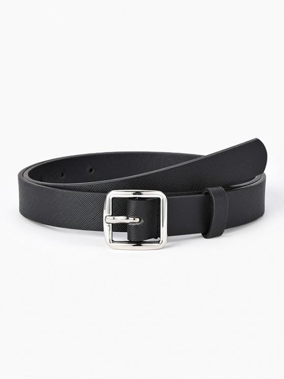 fancy Square Pin Buckle Textured Belt - BLACK