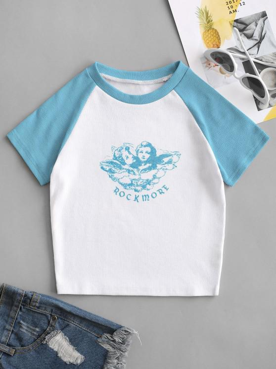 women's Ribbed Rock More Graphic Baseball Tee - LIGHT BLUE M