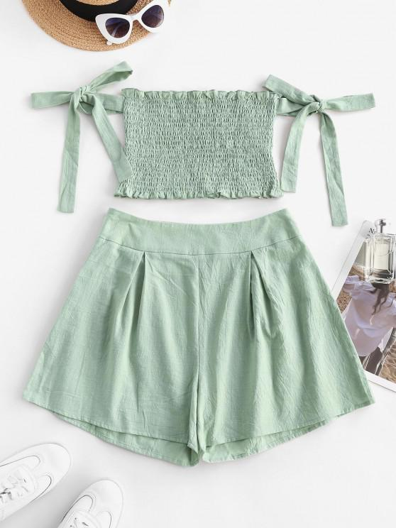shops Ruffle Smocked Off Shoulder Tie Sleeves Shorts Set - LIGHT GREEN XS