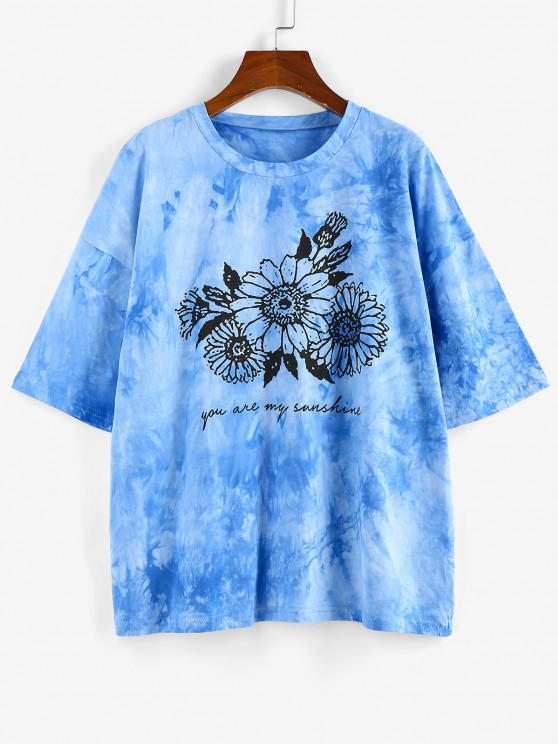 outfit ZAFUL Sunflower Print Tie Dye Oversized Graphic T Shirt - BLUE S