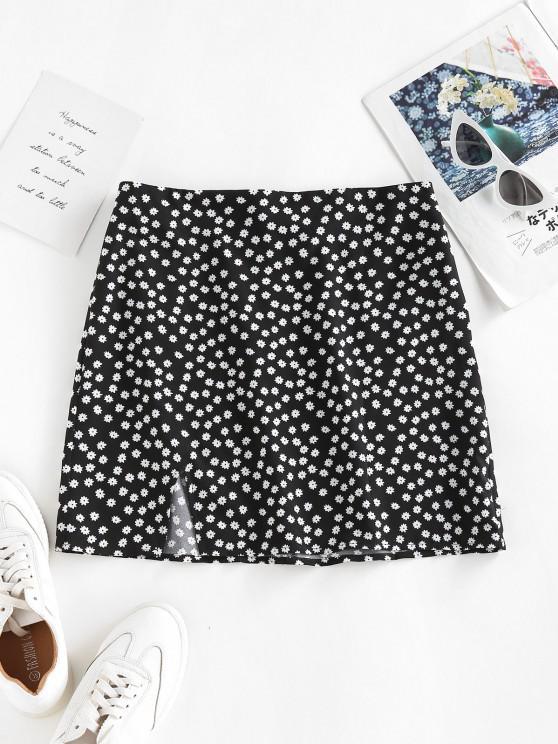ZAFUL Mini Falda con Corte Alto y Patrón de Flor - Negro S