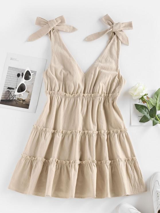 fancy ZAFUL Tie Shoulder Frilled Tiered Plunge Dress - COFFEE S