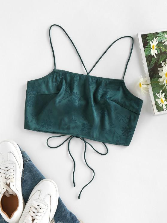 hot ZAFUL Flower Jacquard Lace Up Crop Camisole - DEEP GREEN S