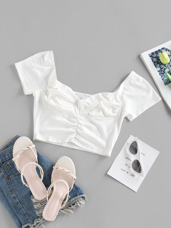 outfit ZAFUL Ribbed Ruched Cupped T Shirt - WHITE L