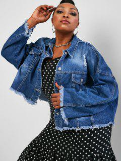 Plus Size Distressed Raw Trim Denim Jacket - Deep Blue 4xl
