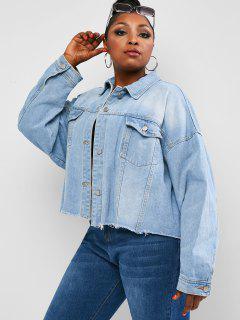 Plus Size Drop Shoulder Frayed Pocket Denim Jacket - Light Blue 1xl