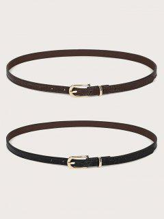 2Pcs Skinny Pin Buckle Belt Set - Multi