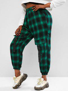 Plus Size Plaid Cargo Pants With Buckled Pockets - Green 3xl