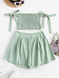 Ruffle Smocked Off Shoulder Tie Sleeves Shorts Set - Light Green M