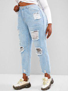 Plus Size Light Wash Ripped Boyfriend Jeans - Light Blue L