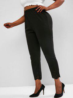 Plus Size Laser Cut Textured High Rise Pants - Black 3xl