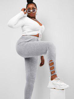 ZAFUL Plus Size Marled Crisscross Hem Jersey Leggings - Dark Gray 3xl
