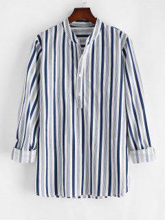 Half Button Vertical Striped Print Casual Shirt - White L