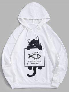 Sudadera Con Capucha De Estampado De Gato De Dibujos Animados - Blanco 2xl